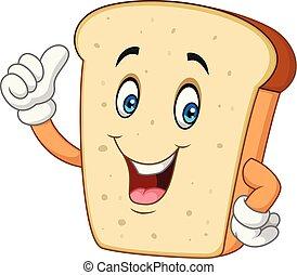 polegar, abandone, cortado pão fatias, caricatura, feliz