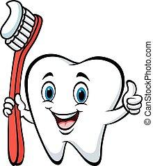 polegar, abandone, escova dente, segurando, caricatura