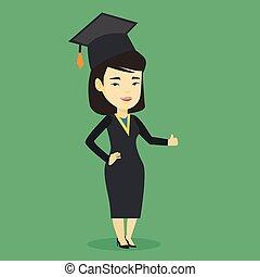 polegar, abandone, graduado, vetorial, illustration.