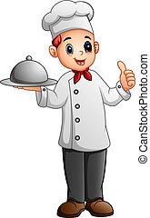 polegar, alimento, mostrando, metal, cima, cozinheiro, segurando, platter
