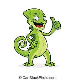 polegar, camaleão, mascote, sorrir feliz, personagem, vetorial, cima