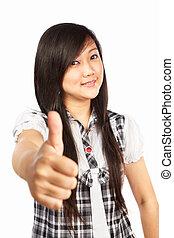 polegar cima, asiático feminino