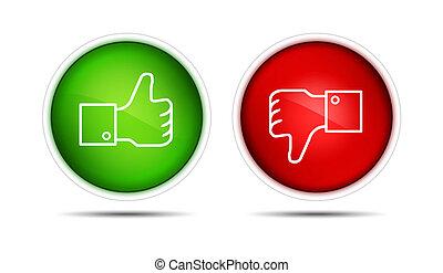polegar cima, e, polegar, baixo, botões