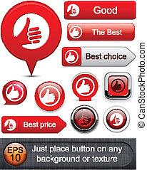polegar cima, high-detailed, modernos, buttons.