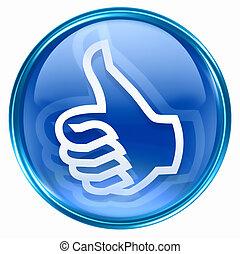 polegar cima, mão, aprovação, ícone, gesto, azul