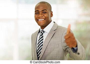 polegar, escritório, dar, executivo, cima, negócio, americano, africano