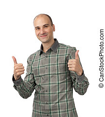 polegar, mostrando, jovem, cima, homem sorridente