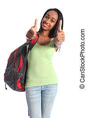 polegares cima, dobro, sucesso, para, africano, menina adolescente