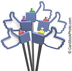 polegares cima, facebook, semelhante, nós, ícones