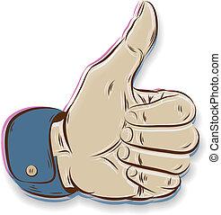 polegares cima, símbolo, mão, desenhado, isolado, branco