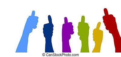 polegares, coloridos, cima