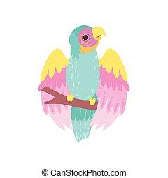 poleiro, papagaio, sentando, ilustração, tropicais, plumage, vetorial, iridescente, pássaro