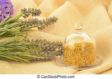 polen, bombonera, vidrio, abeja