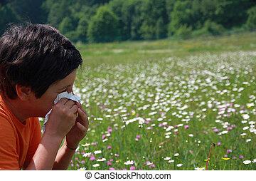 polen, golpe, pañuelo, alergia, su, mientras, nariz, niño, ...