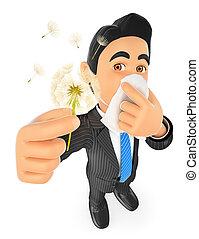 polen, hombre de negocios, alergia, 3d