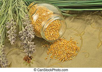 polen, vidrio, flores, tarro, abeja
