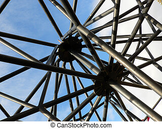 Poles - Roof of open gazebo at Jasper Park Lodge. Jasper...