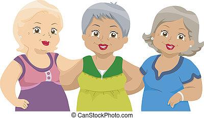 polgárok, 2, idősebb ember, barátok
