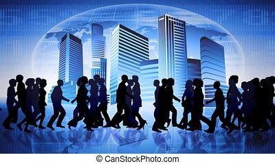 polgárok, közül, a, world., globális, comm