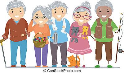 polgárok, stickman, idősebb ember