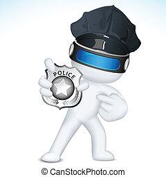 policía, actuación, vector, 3d, insignia, hombre