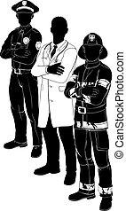 policía, bombero, doctor, emergencia, equipo, siluetas