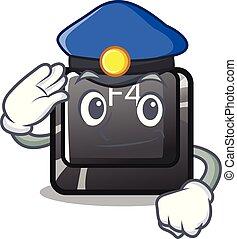 policía, botón, installed, teclado, f4, caricatura