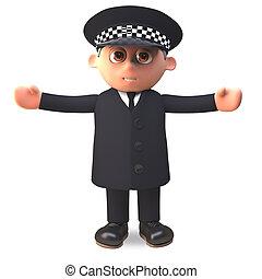 policía, brazos, ilustración, uniforme, oficial, extendido, ...