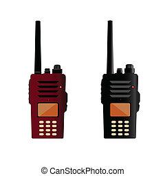 policía, comunicación, radio, talkie, walkie, o