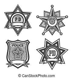 policía, conjunto, insignia