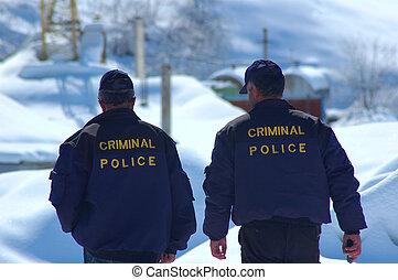 policía, criminal, patrullar, invierno
