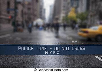 policía, cross., york, nuevo, no, city., línea