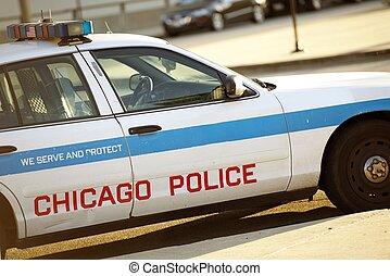 policía, crucero, en, chicago