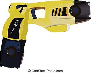 policía, eléctrico, autodefensa, suministrado, arma de...