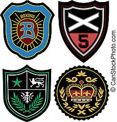 policía, emblema, insignia, conjunto