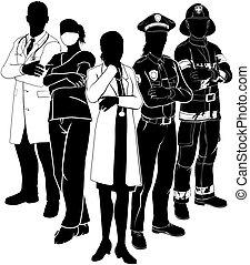 policía, emergencia, doctor, fuego, siluetas, equipo