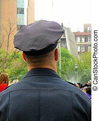 policía, en, uniforme