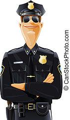 policía, en, uniforme, y, gafas de protección