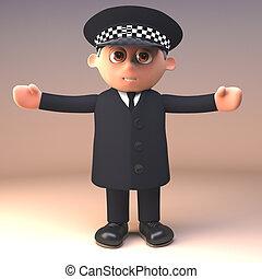 policía, estantes, brazos, ilustración, uniforme, oficial, ...