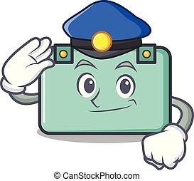 policía, estilo, carácter, caricatura, maleta