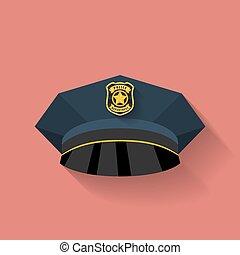 policía, estilo, policía, plano, sombrero, hat., icono