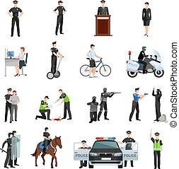 policía, gente, plano, color, iconos, conjunto