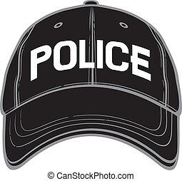 policía, gorra, beisball