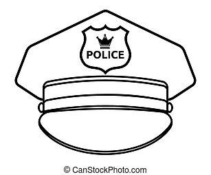 policía, gorra