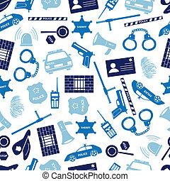 policía, iconos, azul, color, seamless, patrón, eps10