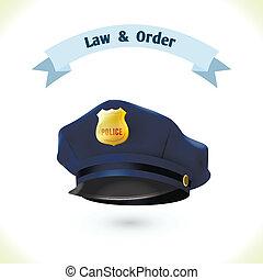 policía, ley, sombrero, icono