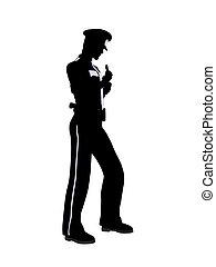 policía, macho, silueta, oficial, ilustración