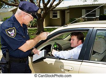policía, -, manejo en estado de ebriedad