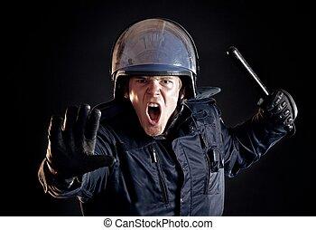policía, multitud, enojado, parada, violento, oficial,...