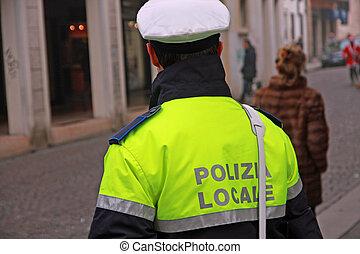 policía, municipal, servicio, policía, calles, italia, ...